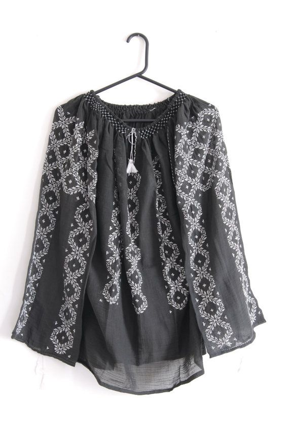Romanian traditional black blouse with white embroidery <3
