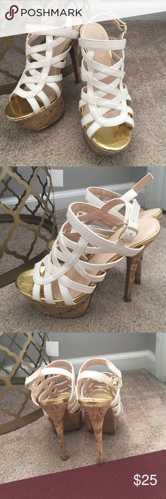 White and gold heels Worn maybe once, excellent condition Shoe Dazzle Shoes Heels