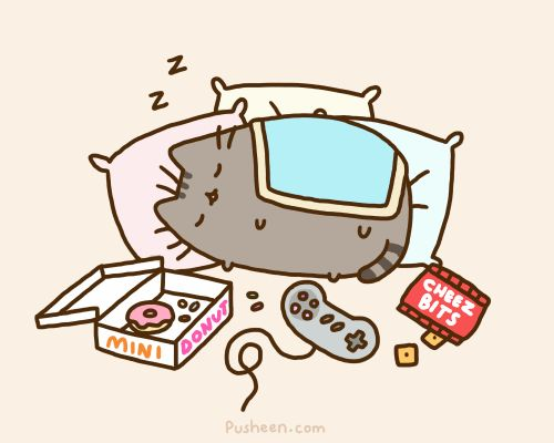 Pusheen being lazy and playing video games :3