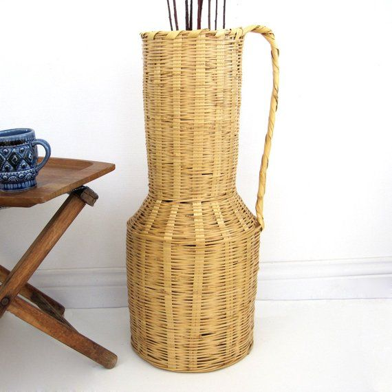 Vintage Tall Rattan Basket With Handle Large Woven Boho Dried Flower Pot Umbrella Stand Urn Farmhouse Decor Rattan Basket Basket Umbrella Stand