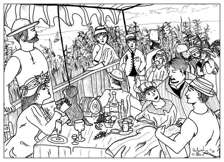 Coloring Page Inspired By Le Dejeuner Des Canotiers Auguste Renoir French Leading