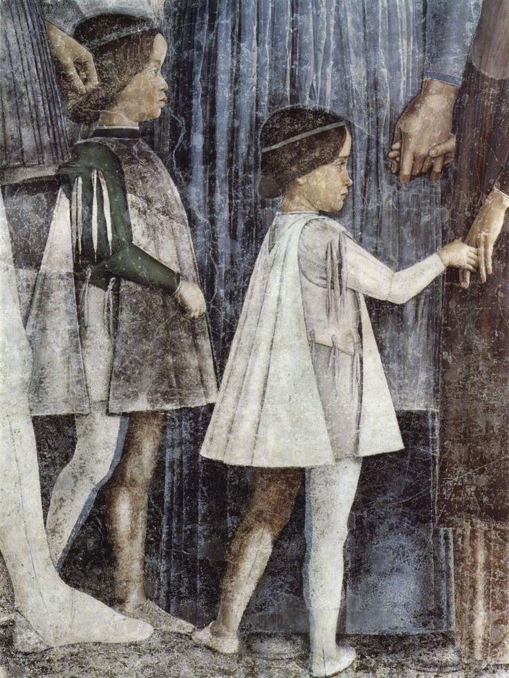Andrea Mantegna, Mantova Camera degli Sposi, il futuro cardinale Sigismondo Gonzaga in abito bianco detttaglio