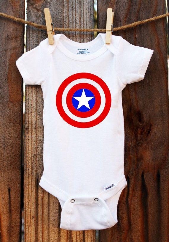 Captain America Onesie Avengers Baby by TheLittleStork on Etsy