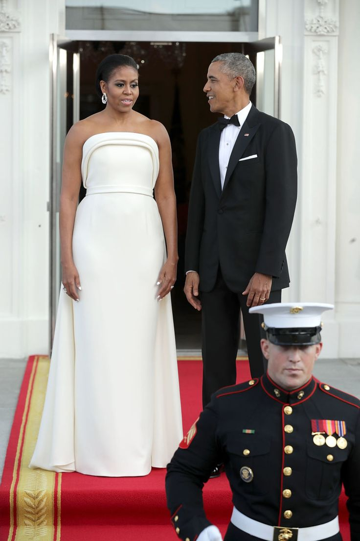 Michelle Obama Wears Ivory Brandon Maxwell Gown To State Dinner