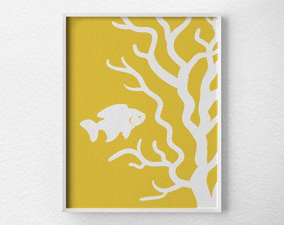 Stampa gialla corallo, Beach Decor, arte di vita di mare, Ocean Art, Coastal Decor, stampa nautica, corallo Art, Beach Art, arte moderna, spiaggia stampa, 0326