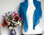 RESERVED TO ALINA: Cerulean Blue Soft Turkish Scarf Elegant Cotton Shawl Mother's Day Beautiful Gift Valentine's day Gift Idea