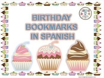 This is a set of twelve different birthday cupcake bookmarks in Spanish. Once laminated, they are great for the birthday child in your Spanish class! Bookmarks read:  FELICIDADES!  Que cumplas muchos mas! y  Feliz cumpleaos!Credit to:1) My Clip Art Store