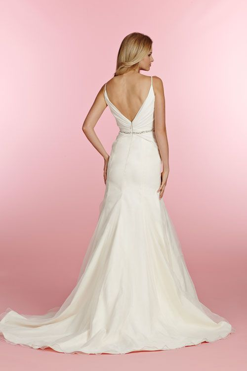 Olive, Ivory chiffon fit to flare bridal gown, crossover V-neck spaghetti strap bodice, beaded belt at the natural waist and flattering ruched detail accenting the hip. Bridal Gowns, Wedding Dresses - JLM Couture Inc. - Bridal Style 1505 by JLM Couture, Inc.