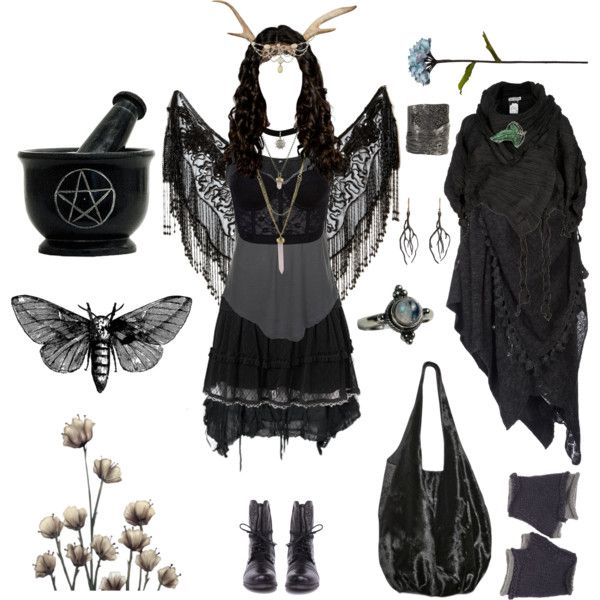 *Dark Mori Outfit* by pagana on Polyvore featuring HIGH, Forever 21, Steve Madden, DARCY MIRO, BCBGeneration, Annette Ferdinandsen, Wooden Ships, FAUXTALE, Shabby Chic and Issey Miyake