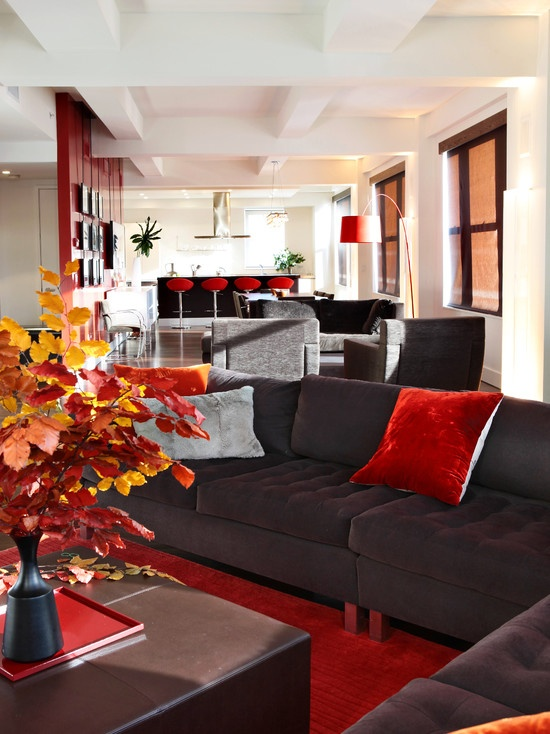 red pillow red decoration love the pops of red modern living roomsliving room brownred