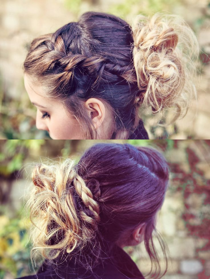Zoella Style--braids and messy bun