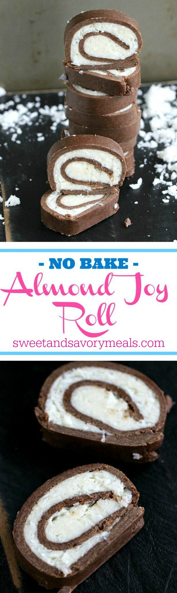 No Bake Almond Joy roll is dense, chocolaty and has a creamy, sweet and smooth coconut filling. Made with just a few ingredients in under 30 minutes. #nobake #chocolate #coconut