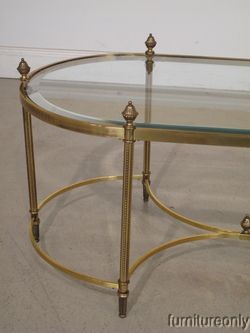 f5148 labarge brass and glass oval cocktail coffee table