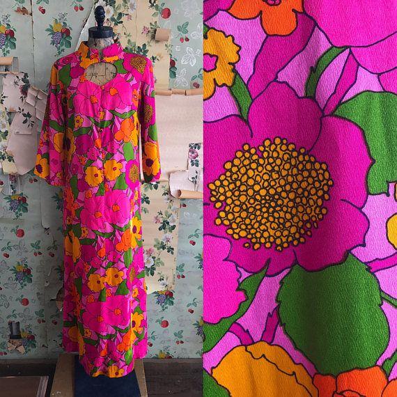 Vintage 1960s Psychedelic Ludy Floral Pink Maxi Hawaiian