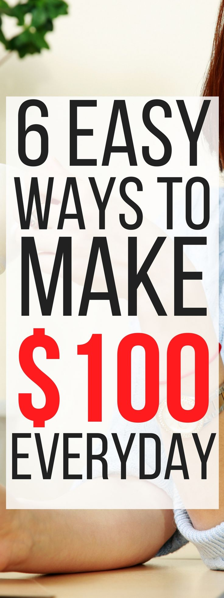 These 6 ways to make an extra $100 in a day are THE BEST! I'm so glad I found this, now I can make extra money in my spare time with these ideas. Pinning for sure! #MakeMoneyOnline #money #makemoneyfromhome