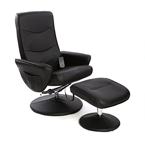 Fairmont Furniture Lyon Faux Leather Massage/Heat Swivel Recliner Chair/Footstool