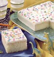 "Magic Cake - It's ""magic"" because cake and frosting are made together from one simple recipe"