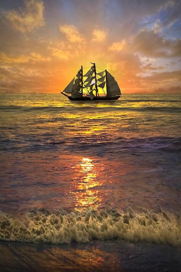 Sun set with beautiful ship in full