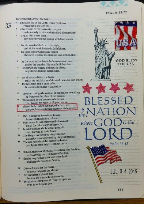 Psalm 33:12 - Happy Independence Day, USA! by Paula-Kay Bourland