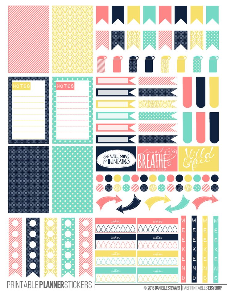Spring Pastel Printable Planner Stickers made to fit the Happy Planner.