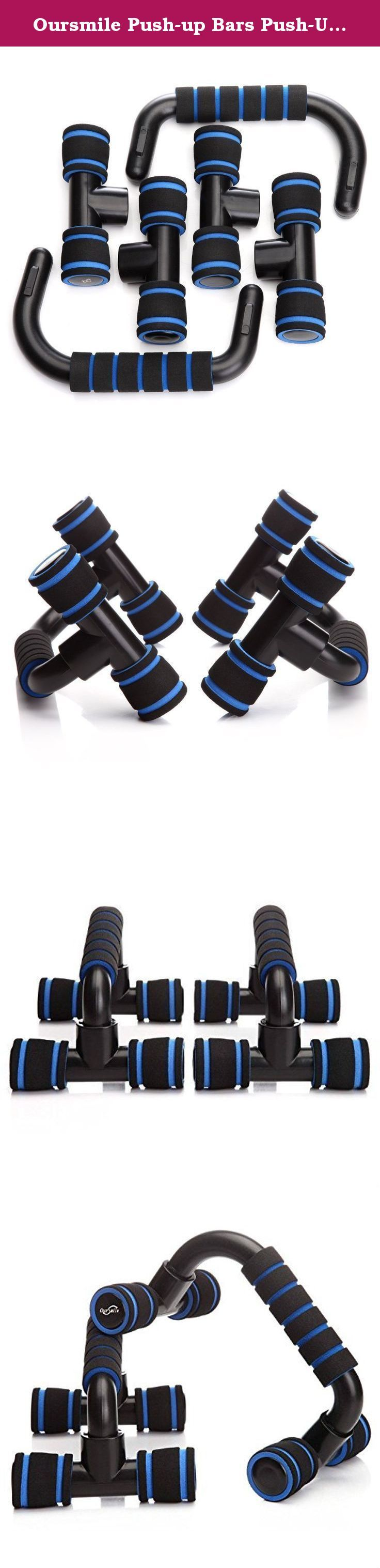 Oursmile Push-up Bars Push-Up Stands Handles Set:Ergonomic,Non-Skid,Foam-Grip,Push-Up Stands Suitable for any Pushup Training Program for Men or Women Workout with Comfortable Grip(Black+Blue). Oursmile 1 pair Push-up Bars-Push-Up Stands Features: - Strong, durable Push-up Bars and very stable - have no fear that they'll break, bend or collapse - They are stable and do not wobble - Light and portable - Comfortable foam grips - Non-slip Benefits: - Strengthen and sculpt shoulders, chest…