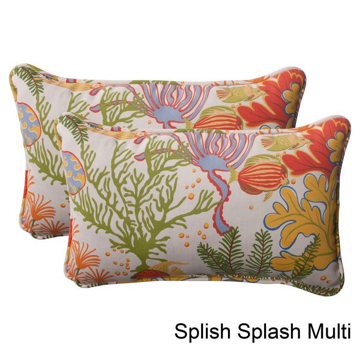 Pillow Perfect 'Splish Splash' Outdoor Throw Pillows (Set of 2) (Splish Splash Multi) (Polyester, Nautical), Outdoor Cushion