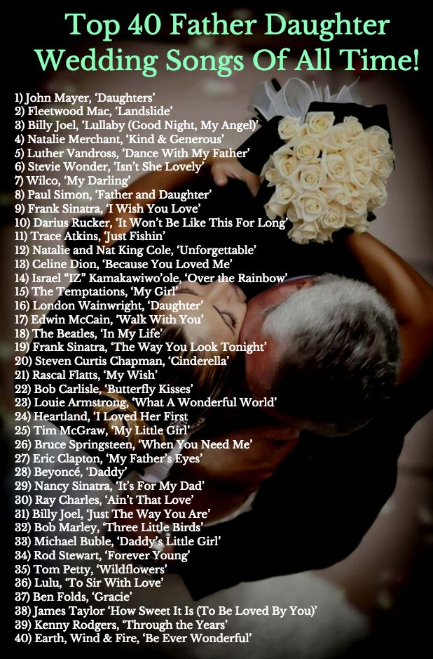 Top 40 Father Daughter Wedding Songs Of All Time