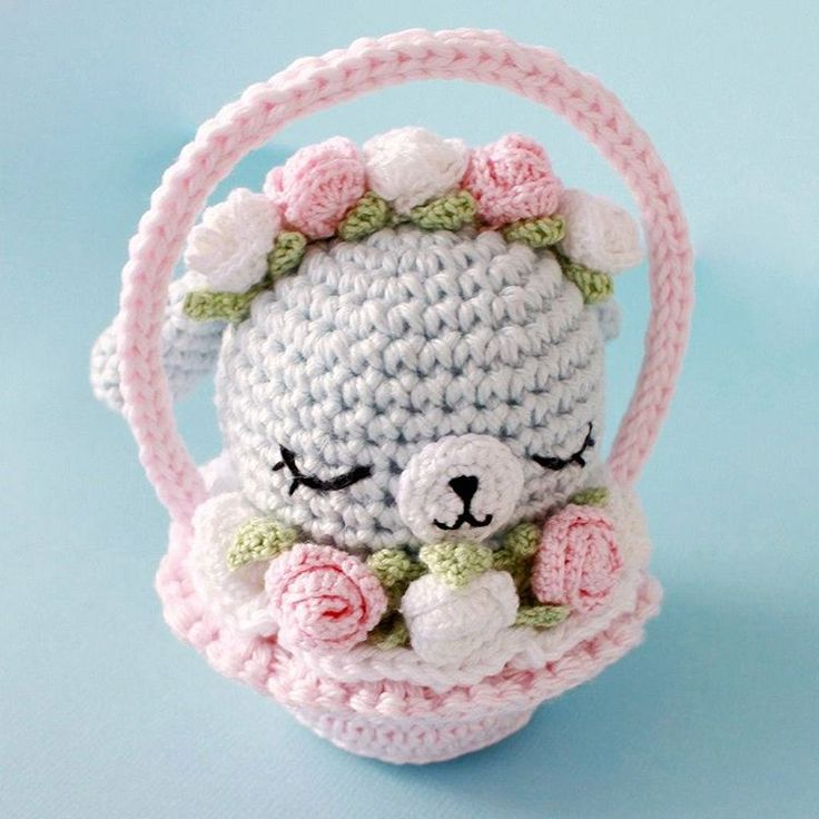 Ami-Domi Land: вяжем амигуруми: Кролик в корзинке амигуруми