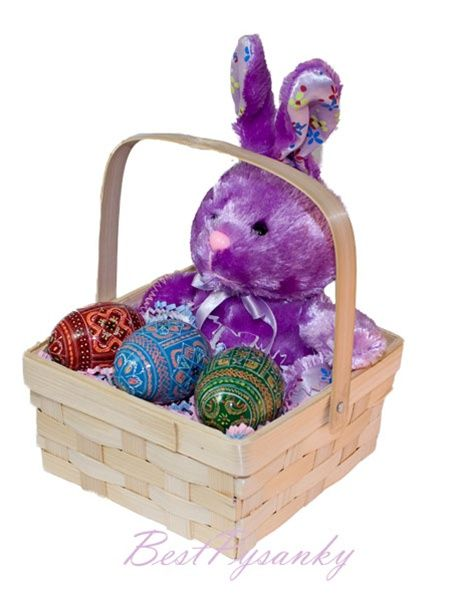 Russian eggs hand painted wood easter eggs from russia plush purple bunny rabbit toy in easter gift basket with 3 wooden pysanky eggs negle Image collections