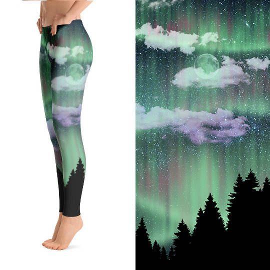 Aurora Borealis, Northern Lights Clothing, Printed Leggings, Funky Leggings, Unique Leggings, Designer Leggings, Crazy Leggings, Leggings by WickedRefinedDesigns on #etsy #leggings #clothing #clothes #northernlights #moon #night #moon