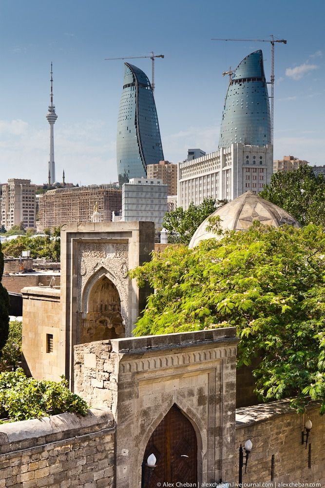 Flame Towers and Old City of Baku, Azerbaijan ...I see this part of the city every single day! BLESSED