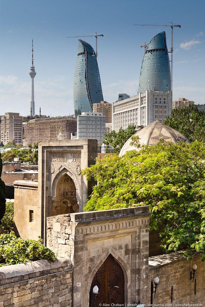 Flame Towers and Old City of Baku, Azerbaijan