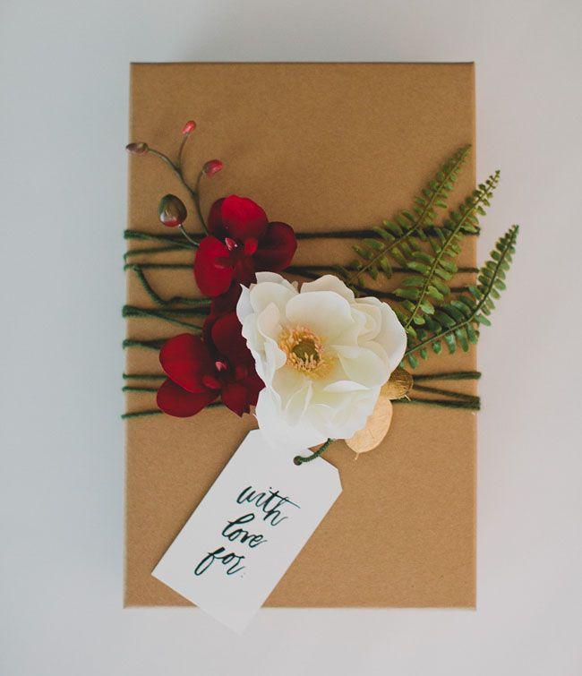 DIY silk flower gift wrap tutorial. Love it!