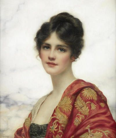 Esme (1919). William Clarke Wontner (British, 1857-1930). Oil on canvas. Wontner was a relatively minor painter who was part of neo-classical movement in England. His style favored seductively languorous women against classical or oriental marbled backdrops., his faithfully rendered fabrics created an air of Orientalism.,