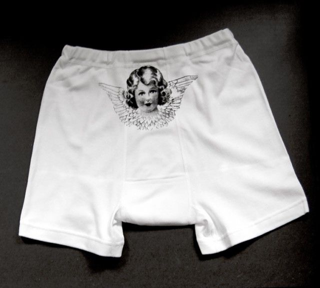 Angel boxers, for him by Jollygoodfellow #nordicdesigncollective #jollygoodfellow #angel #boxers #saint #forhim #underwear #white #print #accessories #short #briefs #blackbackground #gift