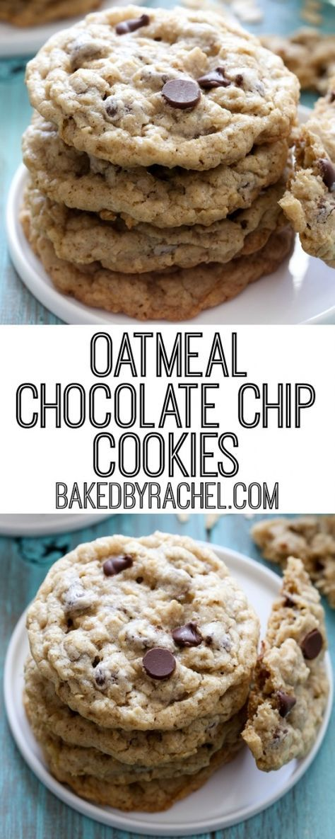 Soft and chewy oatmeal chocolate chip cookie recipe from @bakedbyrachel