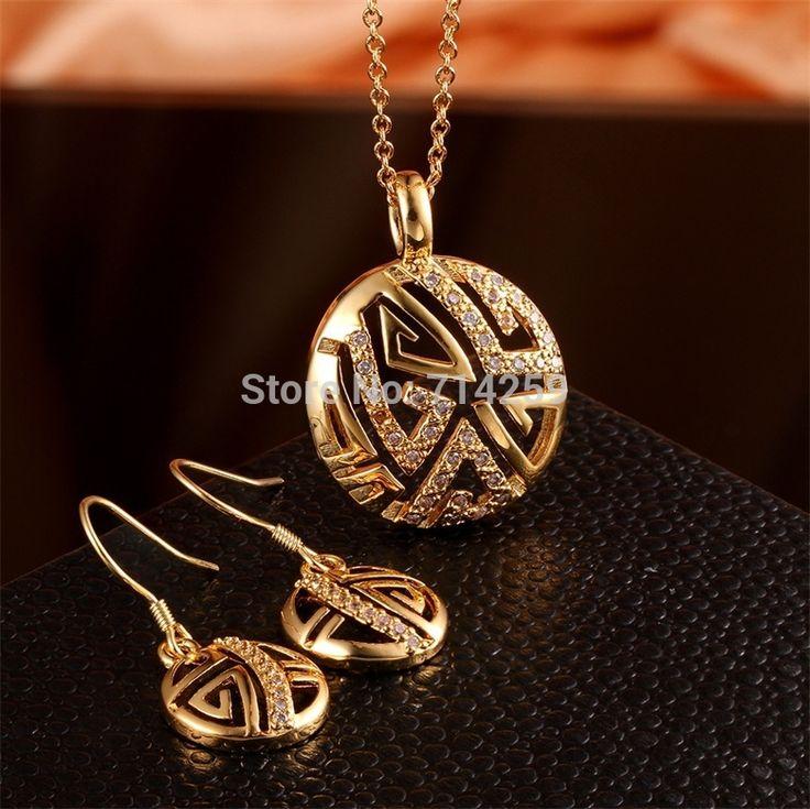 Золото / розовое золото / платиновое покрытие ожерелье и серьги ювелирные комплект Gem белый камень KS029