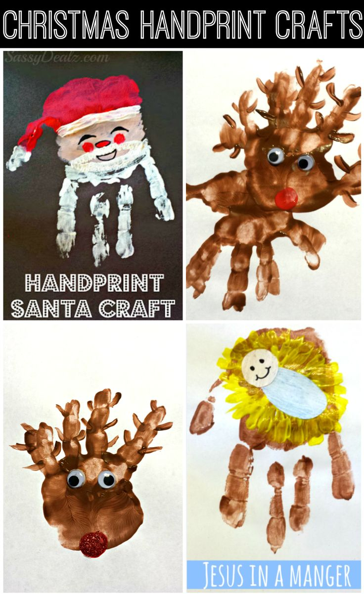 Cute and Easy Christmas Handprint Crafts For Kids! Santa Claus, Rudolph the red-nosed reindeer, baby jesus in a manger, and more art projects!   http://www.sassydealz.com/2013/12/cute-christmas-handprint-crafts-for-kids.html