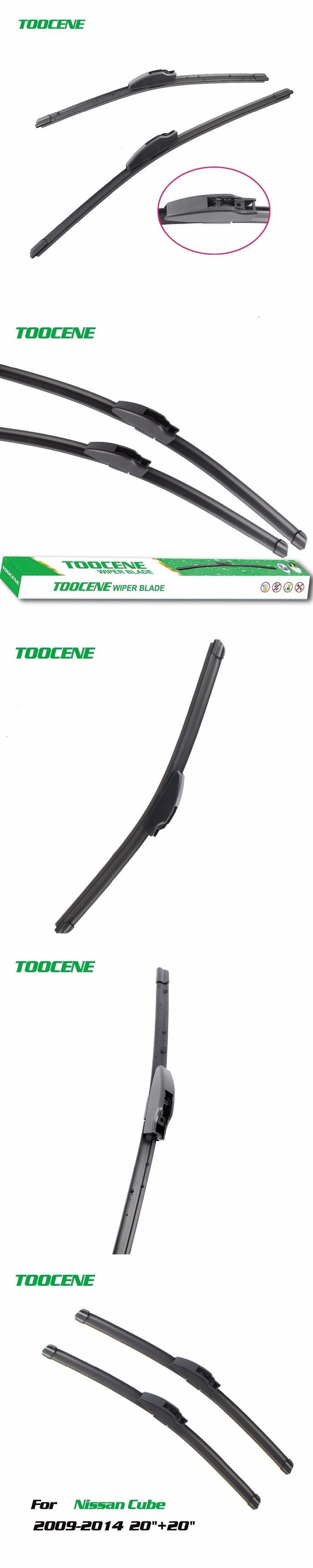 Toocene  Wiper Blade For Nissan Cube 2009-2014 size20''+20'' Pair Window Windshield Windscreen Rubber Car Accessories