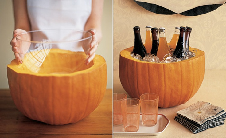 Put a glass bowl in a hollow pumpkin to hold punch or use as a cooler. #halloween #decoration #party #ideas: Halloween Decorations, Punch Bowls, Halloween Parties, Hold Punch, Decoration Party, Decor Parties, Parties Ideas, Glasses Bowls, Party Ideas