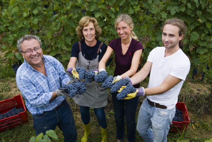 Ruggero and Orsetta Lenti with their children Giulia and Giacomo; all help with the harvest