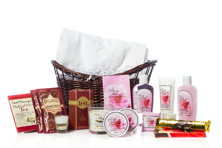 """Pamper Yourself"" Basket from Basketful.   Basket Includes:  A Lush Towel, Candles and Bath Products.  Tea, Gourmet Hot Cocoa and Chocolates.  Perfect For A Night Of Relaxing In The Tub.  Great gift for Mother's Day!    $75.00 CAD"