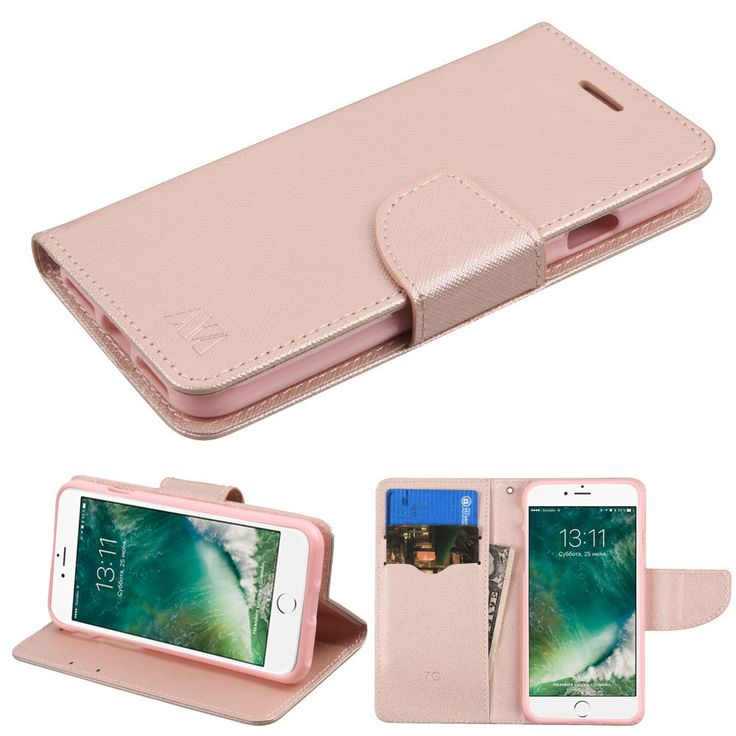 Diary Leather Wallet Case for iPhone 7 - Rose Gold - HD Accessory