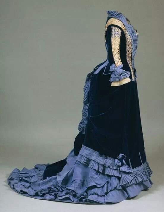 1870s velvet and silk bustle reception gown