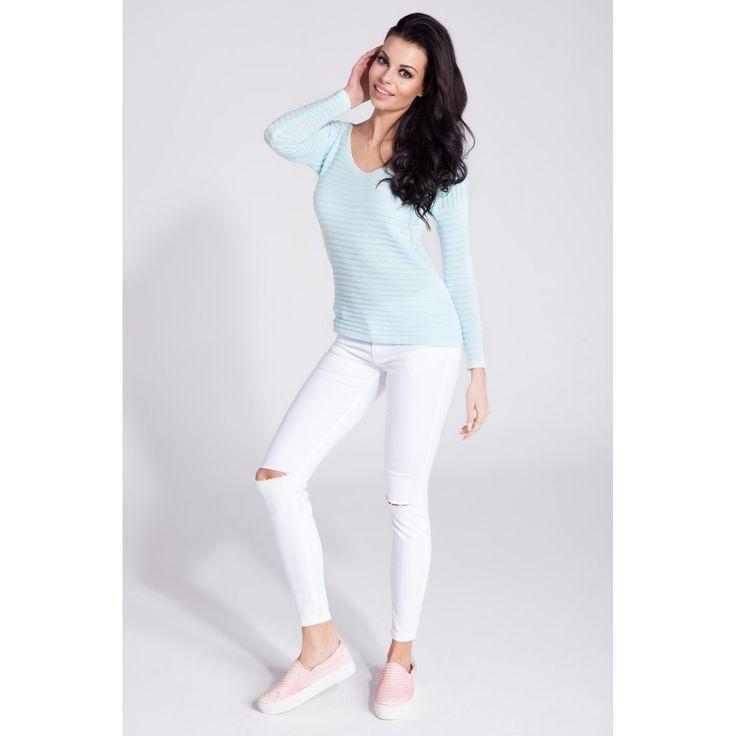 Bluza de dama casual-sport skyblue  #bluzetricotatedama