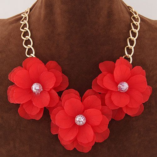 Resin Necklace, Zinc Alloy, with Resin, with 5cm extender chain, Flower, gold color plated, twist oval chain, red, lead & cadmium free, 65mm, Sold Per Approx 17.5 Inch Strand