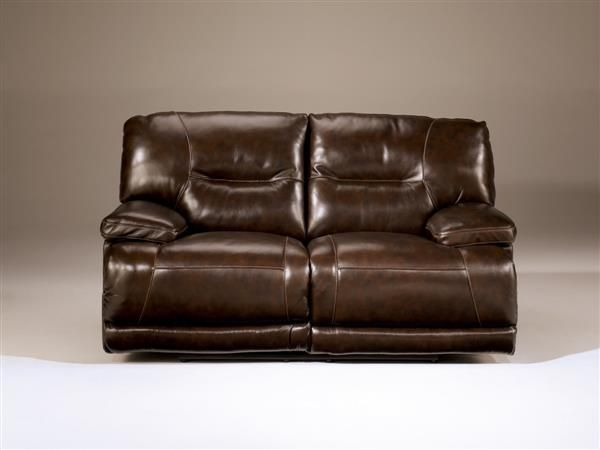 Exhilaration Contemporary Chocolate Leather Reclining Loveseat