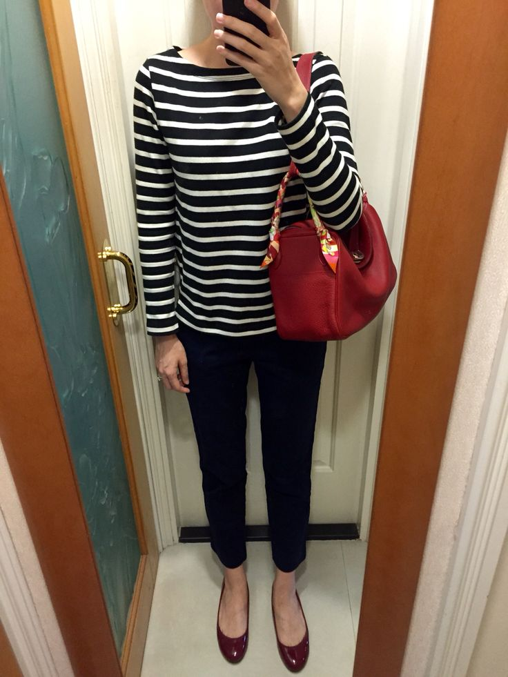 UNIQLO stripped top and chinos, red patent leather flats, Hermes ...