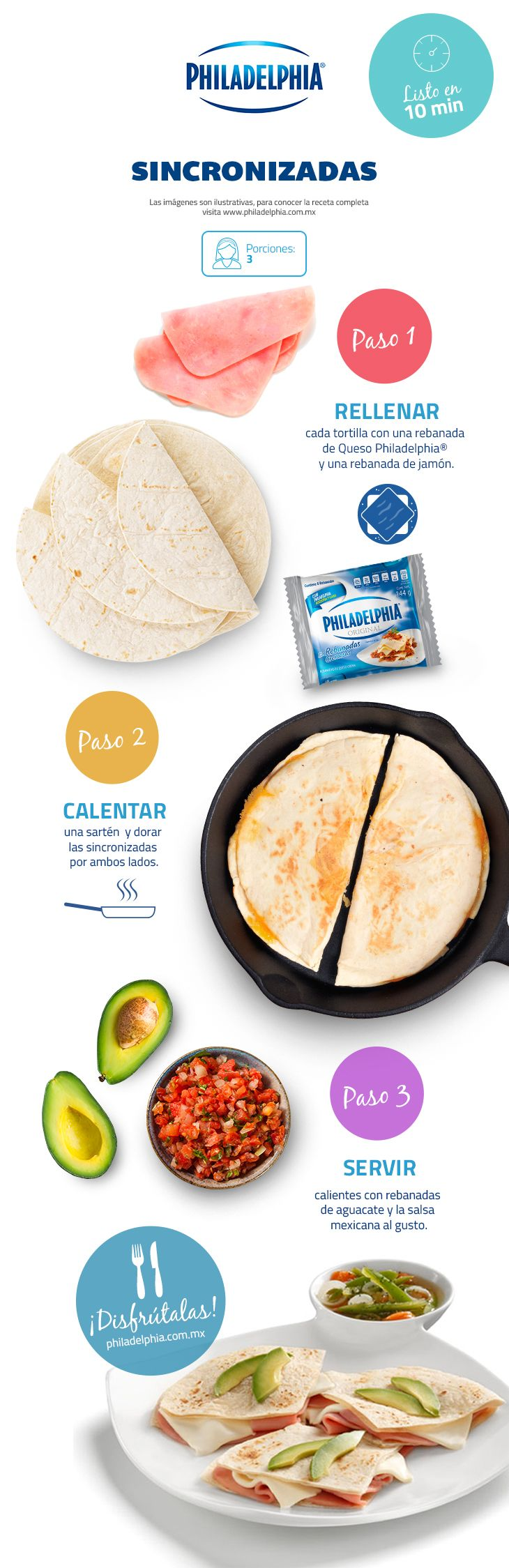 Deliciosas Sincronizadas con Queso Philadelphia®.