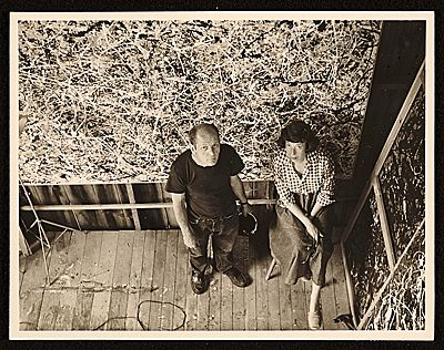 Citation: Jackson Pollock and Lee Krasner in Pollock's studio, ca. 1950 / Rudy Burckhardt, photographer. Jackson Pollock and Lee Krasner papers, Archives of American Art, Smithsonian Institution.